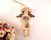 Garden Angel Wall Hanging Rustic Wood and Metal Ornament Vintage Folk Art Home Decor Primitive Yard Art