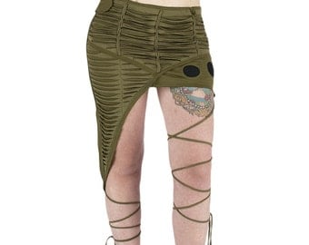 NT-POPLIN Jupe asymétrique, pointue sur le côté, cordon autour de la jambe, tissus effet déchiré au cutter, sexy, psywear, festival trance