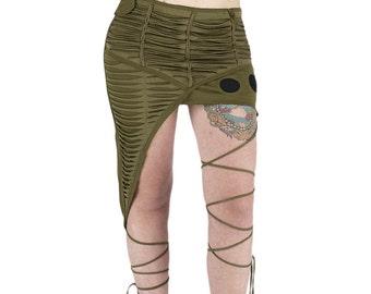 Psywear slashed gray kaki, asymetrical cut braided cord on leg, post apocalypse, Mad Max, Burining Man, festival, Alternative, tribal