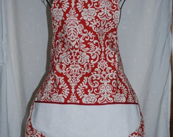 Red and White Full Apron