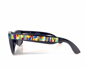 Tech-nicolored Sunglasses, Rainbow, Beaded Sunglasses, Hand Beaded, Seed Beads, Polarized Sunglasses, Wayfarer Sunglasses, Ray Ban Style