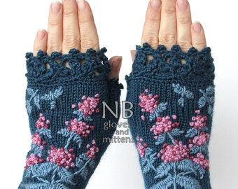 Knitted Fingerless Gloves, Mint, Turquoise, Gloves & Mittens, Gift Ideas, For Her, Winter Accessories