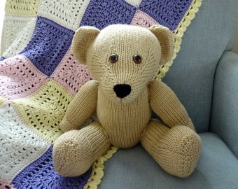 Beige Teddy Bear, Light Brown Bear, Hand Knit, Children's Stuffed Toy, Soft Plush, Baby Shower, Nursery Decor, Heirloom Baby Gift,Child Safe