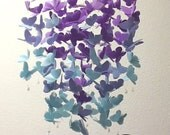 Large Vellum Butterfly Mobile - OMBRE - Violet and Surf Blue