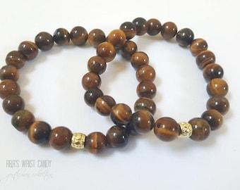 Mens Beaded Bracelet, Men Brown Bracelet, Gemstone Beads,Jasper Beaded Bracelet,Handmade Custom Beaded Jewelry
