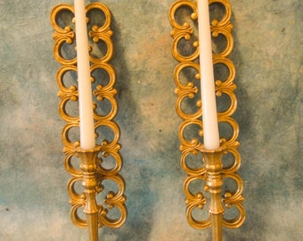 Vintage Pair of Hollywood Regency Syroco Golden Ornate Sconces/Candleholders