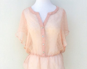 Peach Pink Textured Flutter Blouse