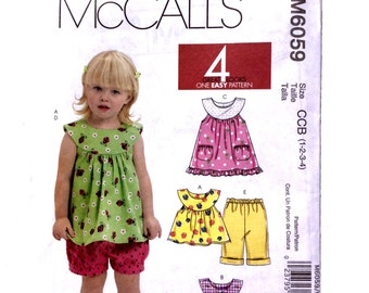 McCall's M6059, Toddlers' Pattern, Dresses, Top, Shorts, and Pants Pattern, Toddler Girl Pattern, Size 1, 2, 3, 4, Uncut Pattern