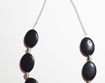 Natural Gemstone Necklace - Black Onyx and Turquoise - S2377