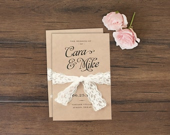 Rustic Wedding Programs \\ Tri-Fold \\ Kraft & Lace