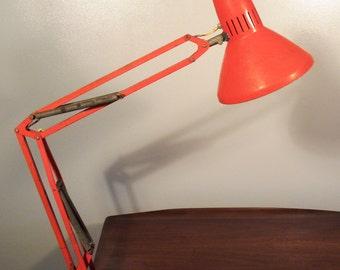 Vintage Orange Clamp Drafting Lamp