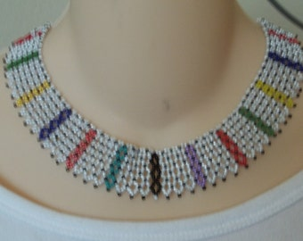 White and multicolored beaded collar necklace