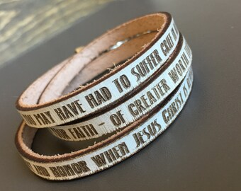 Refined by fire...1 Peter 1:6-7 Daily Reminder Leather wrap bracelet