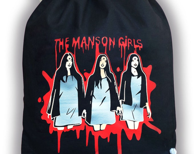 Drawstring Backpack Manson Girls bag - Charles Manson- Manson Family crew