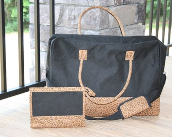 Black Leopard Travel Bag Set Duffel and Cosmetic Case