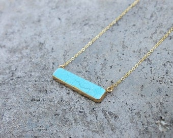 Turquoise Howlite Stone Bar Necklace // Minimal Necklace // Gemstone Layering Necklace // Geometric Necklace // Stone Bar Necklace
