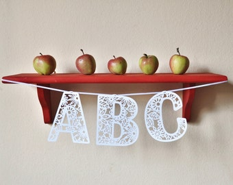 paper cut floral individual letters  - 5.2 inch height