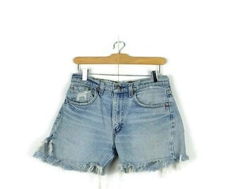 Vintage  Levi's  Damaged /Distressed Cut off  Denim Shorts from 80's/W29*