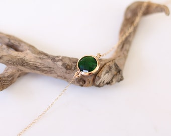 Emerald Bracelet - Charm Bracelet - Gemstone Bracelet - Gold Bracelet - Stone Bracelet - Arm Candy - Green Quartz - Stacking Bracelet