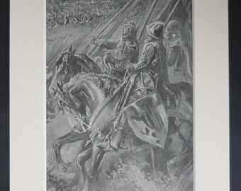 1903 Antique Medieval Print of the Battle of Bannockburn, Available Framed, Scottish Art, English King Edward II Decor, Old History Gift