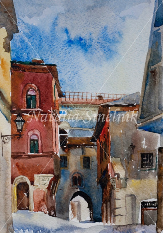 Italian Bologna ubban landscape with arc digital download from original watercolor medieval ols city in Italy