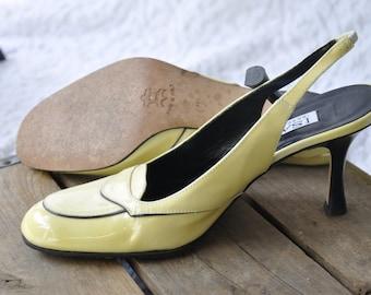Vintage Isaac Mizrahi Pumps | 90s Patent Leather Heels. Retro Art Deco Pumps. Gatsby Party Yellow Swing Pumps. Mod Kitten Heels | 7 / 6.5