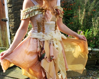 Boho fairy dress custom order/hippie/recycled/Halloween/Costume