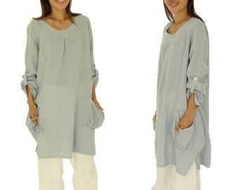 HM300HBL Damen Tunika Bluse Leinen Plus Size Vintage one size hellblau