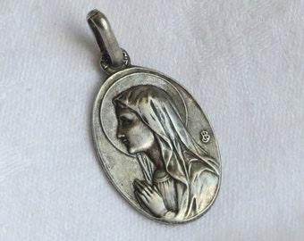 Vintage pendant silver tone medal Holy Sainte Bernadette and Our Lady of Lourdes France. Signed JB