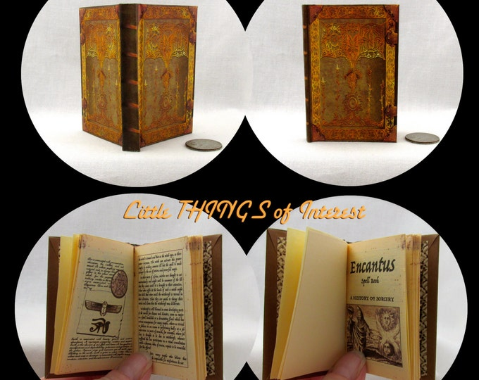 ENCANTUS SPELL BOOK Miniature Book in 1:3 Scale Readable Doll Book Spell Book Sorcerer's Apprentice American Girl Doll 18 inch Ag Doll 1/3