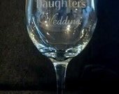 Etched 19 Ounce Wine Glass,  I Survived My Daughter's Wedding with Hearts and Tears