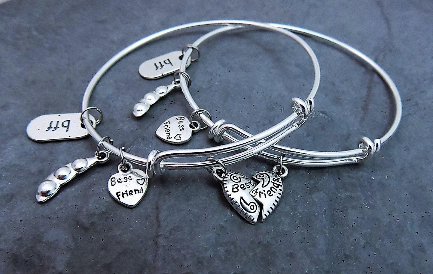 set of 2 charm bracelets gift for friend best friend