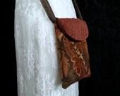 Cross Body Upholstery Cell Phone Bag - Small Messenger Bag - Tapestry Bag -  Cross Body Cell Phone Purse - Upholstery Chenille Velvet Bag