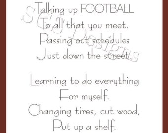 3x10 Football Coach's Wife Poem Digital File (Instant Download)