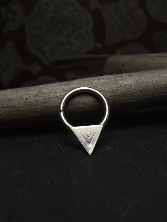 Arrows Septum Piercing ~ Choose Diameter ~ Handmade, Artisan, Tribal, Sterling Silver, Unique, Triangular