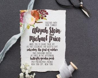 Watercolor Boho Wedding Invitation Suite DEPOSIT - DIY, Chic, Fall, Country, Calligraphy, Deckled Edge, Printable (Wedding Design #60)