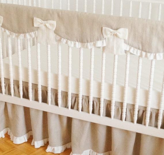 Linen Crib Bedding Rail Guard Rail Cover Bumperless Crib