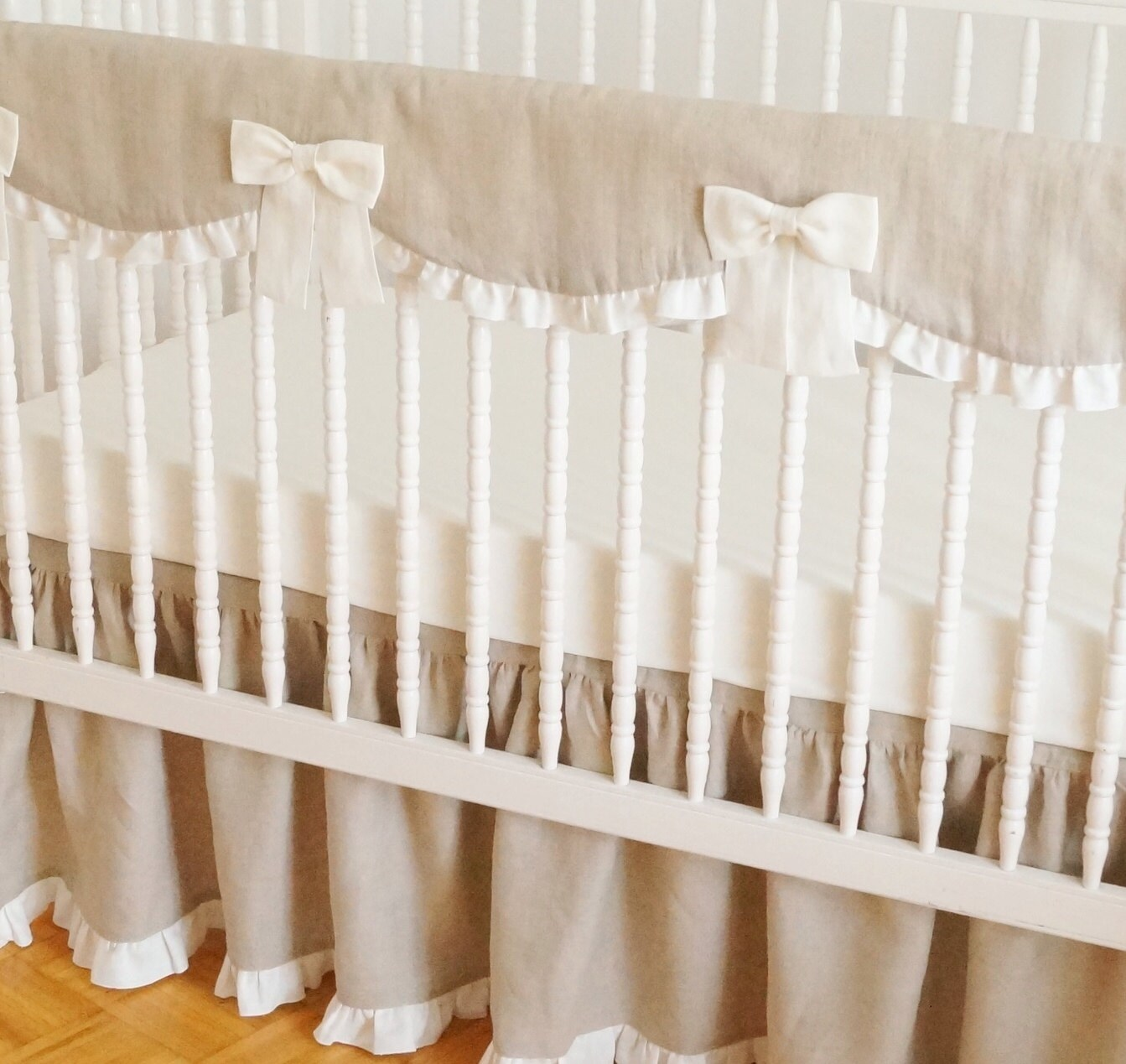 Linen Crib Bedding Rail Guard Rail Cover. Bumperless Crib