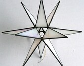 Lg. Stained Glass Tree Topper, Iridescent White Glass, Moravian Star, Tree Top Decoration, Christmas Star Ornament, 12 Point Star X'mas Tree