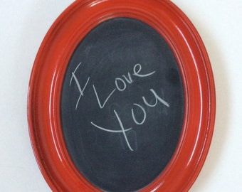 Repurposed Oval Chalkboard Frame, chalkboard frame, red frame, upcycled frame, chalkboard wall hanging, recycled picture frame