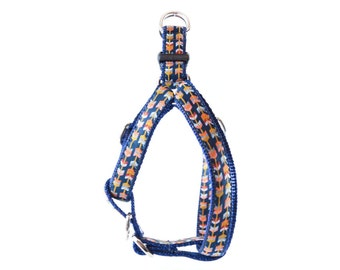 Navy Tribal Dog Harness - Gold, Coral, Aqua Arrows Navajo Southwest Geometric Step-In Front-Clip Harness
