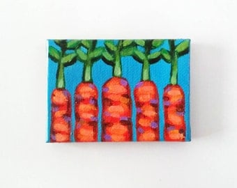 Carrots, Carrots Magnet, Original Painting, Food Art, Food Painting, Food Magnet, Vegetable Painting, Carrot Painting, Kitchen Art