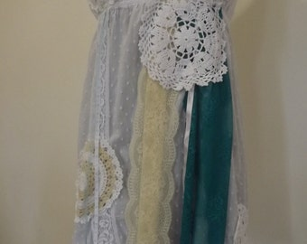 Pretty white broderie anglais dress, Alice in Wonderland style, upcycled, recycled with lace doillies, ribbons and lace
