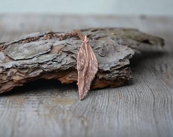 long slim pendant botanical necklace copper electroplating metal gift for her leaf pendant necklace electroformed