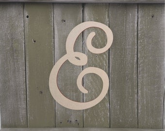 "Mantle Wood Letter - Large or Small, Unfinished, Cursive Wooden Letter - Perfect for Crafts, DIY, Weddings - Sizes 1"" to 42"""