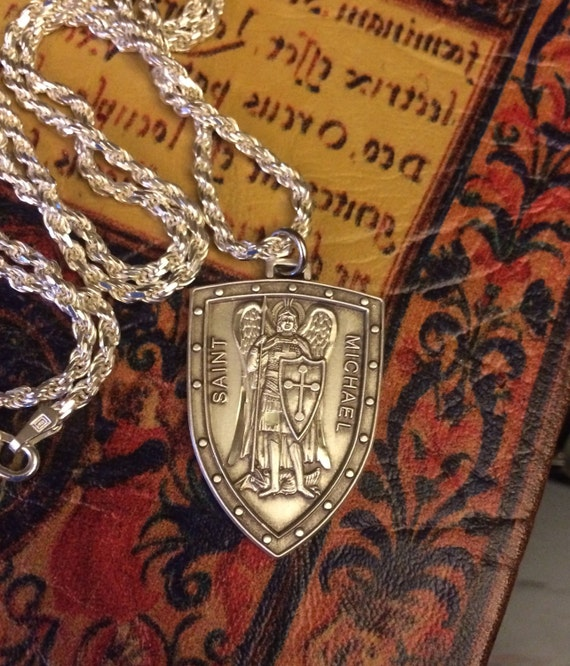Sterling silver st michael medal badge patron saint police like this item aloadofball Image collections