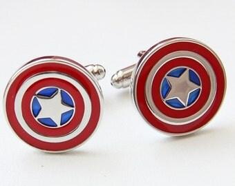Captain America Cufflinks, Goomsmen Cufflinks, Wedding Cufflinks, Captain America Inspired Cuff Links, Groomsmen Gift, Jewelry, Men's Gift