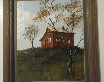 Carol Sadowski Oil on Canvas Original Painting Red Farmhouse Fine Art Collectible Listed Artist