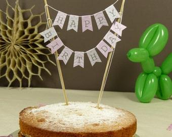 Baby pink Birthday cake bunting stars, stripes & polka dots Cake topper