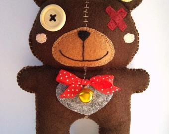 Plüschtier Kuscheltier Spielzeug Geschenk Filz Monster Bär Püppchen Stofftier Felt toy Plushie Bear Teddy Bärchen stuffed animal soft toy